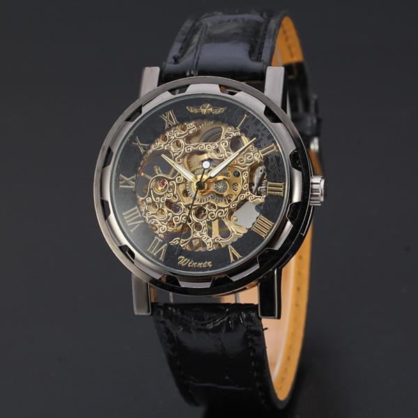 Winner Gold-Black Dial Mekanik Kol Saati